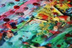 Abstrakt målarfärgtextur med färgrika former, vax som strukturen Royaltyfri Bild
