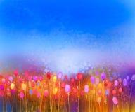 Abstrakt målning för vattenfärg för tulpanblommafält royaltyfri illustrationer