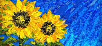 abstrakt målning Ljusa solrosor på fältet stock illustrationer