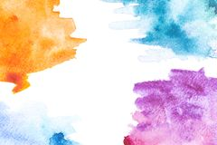 Abstrakt målning med apelsinen, blått och lilor målar slaglängder Arkivbild