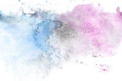Abstrakt målning med ljus - blått och lilor målar fläckar Arkivfoton