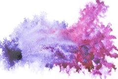 Abstrakt målning med ljusa blått och lilor målar fläckar Royaltyfri Bild