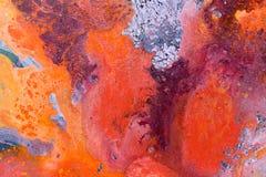 abstrakt målning Röd blomma på blå bakgrund royaltyfri bild