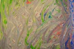 Abstrakt målning som är skriftlig vid fingrar av händer texturbakgrund konsterna Royaltyfria Foton