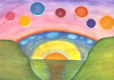 abstrakt målning Två världar - jord och utrymme stock illustrationer