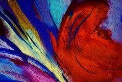 Abstrakt målning vid olja på kanfas, illustration, bakgrund Arkivfoto