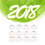 abstrakt månatlig kalender 2018 för vattenfärg Fotografering för Bildbyråer