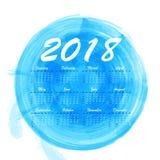 abstrakt månatlig kalender 2018 för vattenfärg Arkivbild