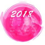 abstrakt månatlig kalender 2018 för vattenfärg Royaltyfria Foton