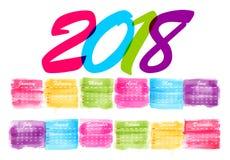 abstrakt månatlig kalender 2018 för vattenfärg Arkivfoton