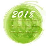 abstrakt månatlig kalender 2018 för vattenfärg Royaltyfri Bild