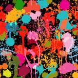 Abstrakt mångfärgad målarfärg plaskar den sömlösa modellen för vektorn Royaltyfri Bild