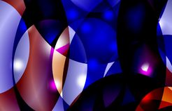 Abstrakt mångfärgad skuggad krabb bakgrund med bubblor, tapet, illustration stock illustrationer