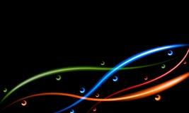Abstrakt mörk bakgrund med skärande linjer och cirklar för neon runt om dem Arkivbild