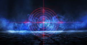 Abstrakt mörk bakgrund med strålar, röd sikt för laser och neonljus Tom tunnel, rum, källarenattsikt av ett mörkt rum vektor illustrationer