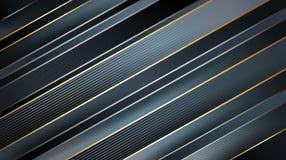 Abstrakt mörk geometrisk bakgrund Rik modell för volym Ljust - gråa och svarta band med guld- gränser royaltyfri illustrationer