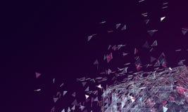 Abstrakt mörk purpurfärgad bakgrund med brutet Glass platoniskt och T Royaltyfri Bild