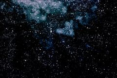 Abstrakt mörker - blå bakgrund med vita fläckar, djupt utrymme med Royaltyfria Foton