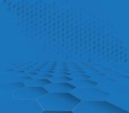 Abstrakt mörker - blå sexhörningsteknologibakgrund Arkivfoton