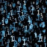 Abstrakt mörker - blåa abstrakta nummer för binär kod vektor illustrationer