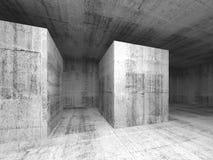 Abstrakt mörker - grått tomt konkret rum, inre 3d royaltyfri illustrationer