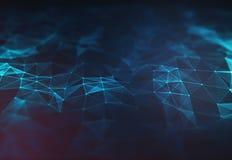 Abstrakt mörker - låg poly bakgrund för blå polygonal terränglättnad Arkivfoton