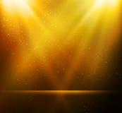 Abstrakt magisk guld- ljus bakgrund Royaltyfri Foto