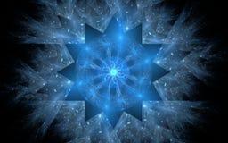 Abstrakt magiskt symbol i form av en frostig snöflinga av blåa toner med en lysande mitt och koaguleringar av energi på en svart  Royaltyfri Fotografi