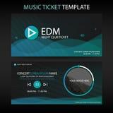 Abstrakt mall för biljett för musik för grön våg för cirkel för konsert royaltyfri illustrationer