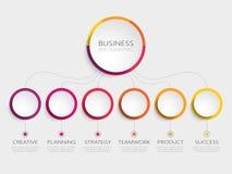 Abstrakt mall för 3D Infographic med 6 moment för framgång Mall för affärscirkel med alternativ för broschyren, diagram, workflow royaltyfri illustrationer