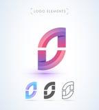 Abstrakt mall för logo för stil för bokstavsnolla-origami Applikationsymbol Arkivbilder
