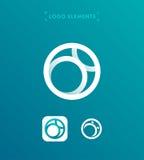 Abstrakt mall för logo för stil för bokstavsnolla-origami Cirkelapplicatio Fotografering för Bildbyråer