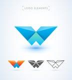 Abstrakt mall för logo för stil för bokstavsW-origami Flygplanvingar A Fotografering för Bildbyråer