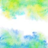 Abstrakt malujący błękit, zieleń, żółty akwareli tło. Zdjęcie Royalty Free
