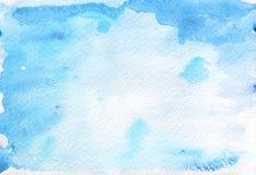 Abstrakt malujący błękitny akwareli tło na textured papierze Obraz Royalty Free