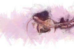 Abstrakt man som spelar den akustiska gitarren på vattenfärgmålning stock illustrationer