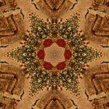 Abstrakt Mandala Kaleidoscope för brun jul textur arkivbild