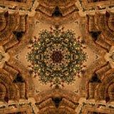 Abstrakt Mandala Kaleidoscope för brun jul textur royaltyfria bilder