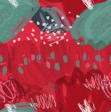 Abstrakt markörfärgpulver slår och pricker röd gräsplan Arkivbilder