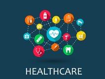 Abstrakt medicinbakgrund med linjer, cirklar och integrerar plana symboler Infographic begreppsläkarundersökning, hälsa Royaltyfria Foton