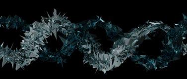 Abstrakt metall och glass spetsig spiral konst med svart bakgrund 3d framför stock illustrationer