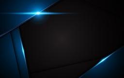 Abstrakt metallisk för ramdesign för blå svart bakgrund för orientering för begrepp för innovation royaltyfri illustrationer