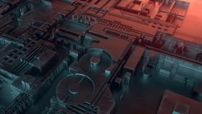 abstrakt metallisk modell Futuristisk technobakgrund Digital 3d illustration vektor illustrationer