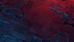 abstrakt metallisk modell Futuristisk technobakgrund som är upplyst vid kulöra ljus Digital 3d illustration Arkivbild