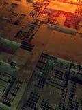 abstrakt metallisk modell Futuristisk technobakgrund som är upplyst vid kulöra ljus Digital 3d illustration vektor illustrationer