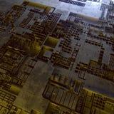 abstrakt metallisk modell Futuristisk technobakgrund som är upplyst vid kulöra ljus Digital 3d illustration stock illustrationer