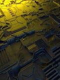 abstrakt metallisk modell Futuristisk technobakgrund som är upplyst vid kulöra ljus Digital 3d illustration royaltyfri illustrationer