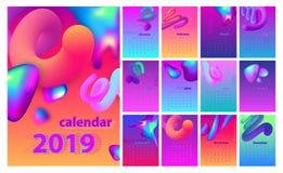 Abstrakt minsta kalenderdesign för 2019 Färgrik uppsättning royaltyfria foton