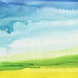 Abstrakt målad landskapbakgrund för vattenfärg hand Fotografering för Bildbyråer