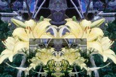 Abstrakt modell av mångfärgade blom- beståndsdelar Tolkning av gula liljor royaltyfri illustrationer